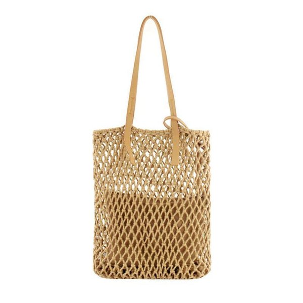 Women Woven Shoulder Bag Handmade Cotton Thread Handmade Hollow Out Straw Hand Bags Beach Fashion Casual Tote Handbag For Ladies