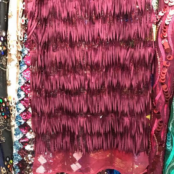 Tela de borla de lentejuelas africanas hecha a mano con tela de encaje de alta calidad, guile francés con cuentas 3d vestido de novia / lote