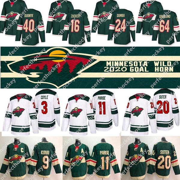 2019 Minnesota Wild Jersey 11 Zach Parise 16 Jason Zucker 22 Nino