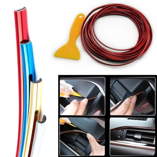 Europe 5 M Adhesive Strips for Decoration Molding Door Line Air Vent Panel Direction-Flexible Wheel In Car Styling Auto Accessories