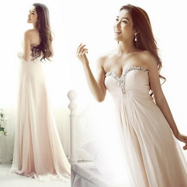 2019 Chiffon Prom Dresses with Beaded Sweetheart Maid of Honor Party Gowns Long Cheap A Line Dress for Bride