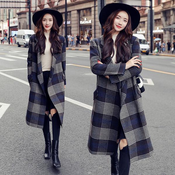 Oficina de señora Long moda de invierno abrigos de lana Turn-down Collar Escudo mezcla de lana y chaqueta solo pecho Escudo Femenino