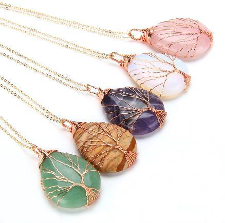 JLN Envolto Em Forma De Fio De Metal Gemstone Árvore Pingente de Rosa Banhado A Ouro Lágrima Gota de Pedra Pingente Com Colar de Corrente de Bronze Presente Para As Mulheres