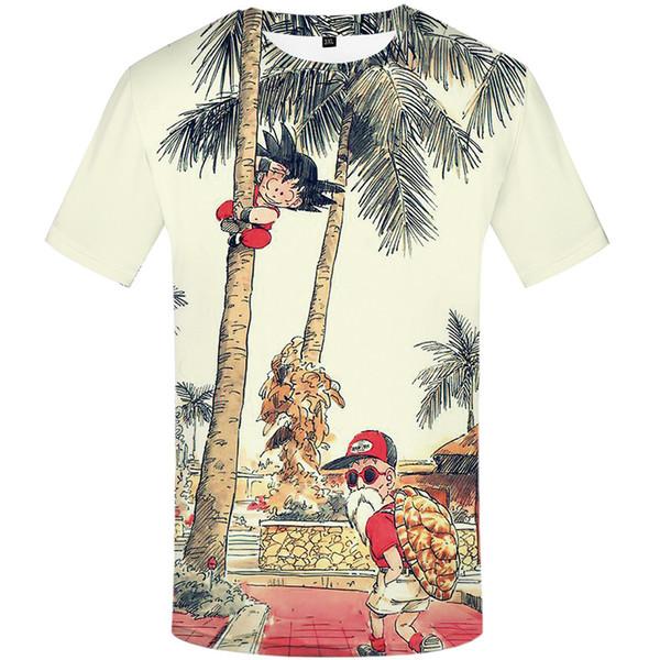 Nouvelle arrivée drôle Master Roshi 3d T-shirt d'été Hipster Tee-shirts À Manches Longues Hommes / Femmes Anime Dragon Ball Z T-Shirts Homme