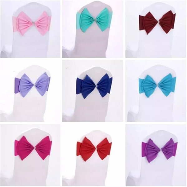 Elastic Organza Chair Covers Sashes Band Wedding Bow Tie Backs Props Bowknot Spandex Chairs Sash Buckles Cover Back Hostel Trim Pink B491-49