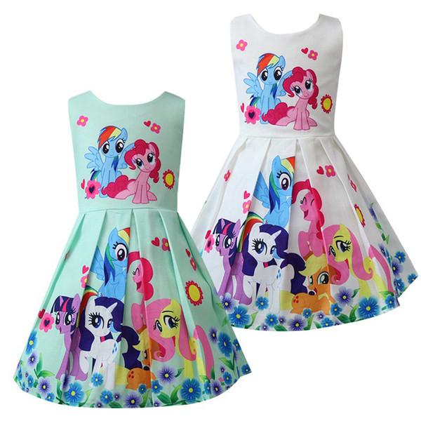 Babykleidung sommer Prinzessin Little Pony Regenbogen Kleider Für Mädchen Halloween Geburtstagsparty Vestidos Kleid Kinder Kleidung