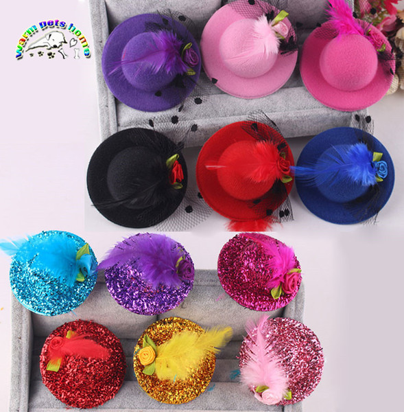 10pcs/lot Dog Hair Yarn Feather Flowers Mini Hat Hair Accessories Pet Grooming Hair Clips For Child Hat Clips 6 Colors
