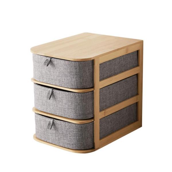 Office Waterproof Storage Drawers Home Storages Multi-layer Drawer Type Bamboo Wood Desktop Storage Box #4W