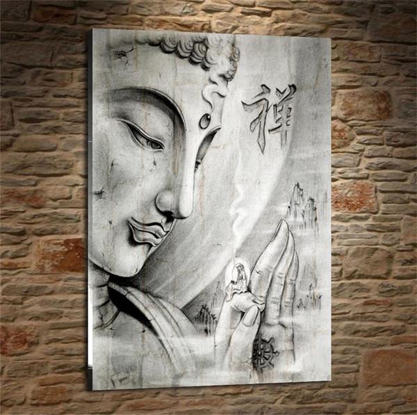 Din Buda, Ev Dekorasyonu HD Baskılı Modern Sanat Boyama Tuval üzerine (Çerçevesiz / Çerçeveli)
