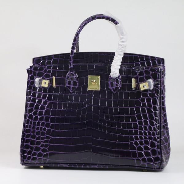 Patrón de cocodrilo púrpura bolso de las mujeres \ bolso de 35 cm de lujo de cuero genuino femenino bolso de cuero de las señoras de cuero grande 'bolso de hombro