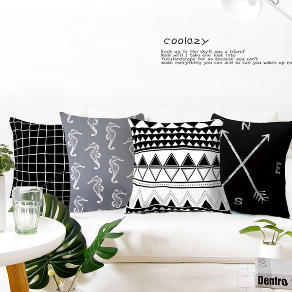 Geometric Cushion Cover Simple Style Polyester Throw Pillow Case Striped Dotted Grid Triangular Sofa Bed Home decorative 45*45cm