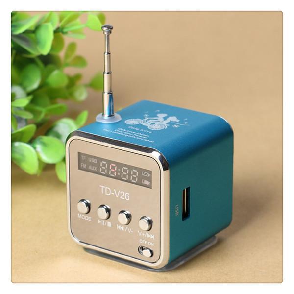 TD V26 Hoparlör FM Radyo Yardımcı In ve Mikro USB Kart Yuvası ile Yeşil Pembe Mavi Siyah Toptan