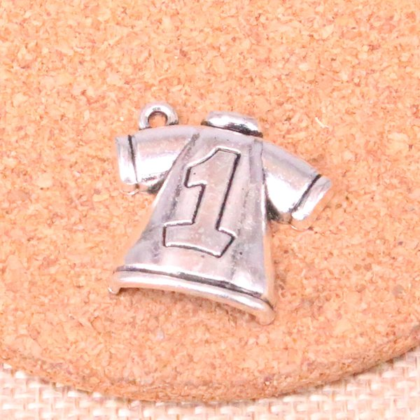 35pcs Antique Silver Plated No.1 Football clothes Charms Pendants fit Making Bracelet Necklace Jewelry Findings Jewelry Diy Craft 25*26mm