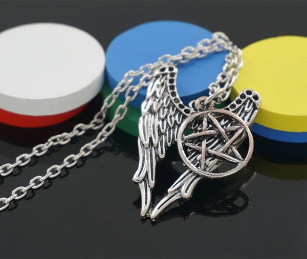 Wholesale-Supernatural necklace pentagram Pentacle Castiel Angel Wings Vintage Antique Silver pendant Jewelry For Men And Women Wholesale