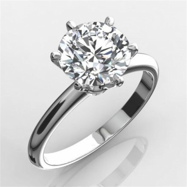 Classic Luxury Real Solid 925 Sterling Silver Ring 2ct Round-cut Sona Diamond Wedding Jewelry Rings Engagement For Women Sz 4-10 J190615