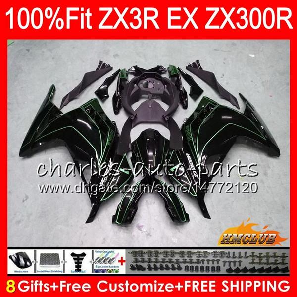 Injection For KAWASAKI NINJA ZX3R EX 300 ZX 300R 13 14 15 16 17 27HC.80 EX300 R green line hot ZX-3R ZX300R 2013 2014 2015 2016 2017 Fairing