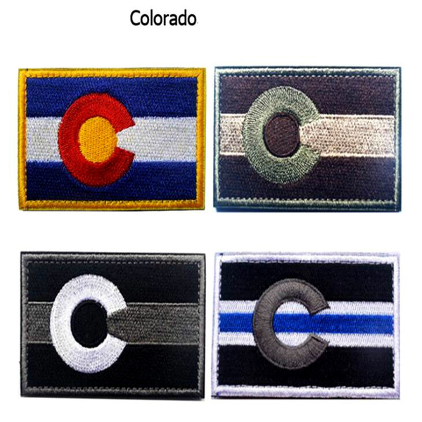 VP-198 3D Thin Blue Line Cororado State Flag military embroidery morale Patch Tactical Hook & Loop Army Badge Bushmaster W patches