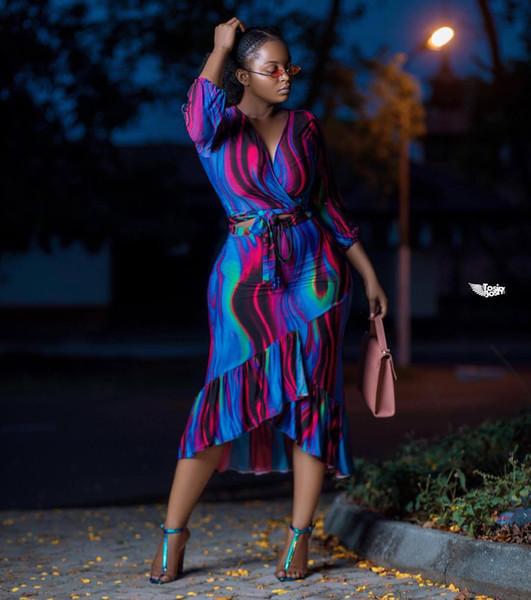 Женщины Лето Глубокие Платья с V-образным Вырезом 2 шт. Печатный Мини-Рюшами Ночной Клуб Платье Причинно Прохладный Платье