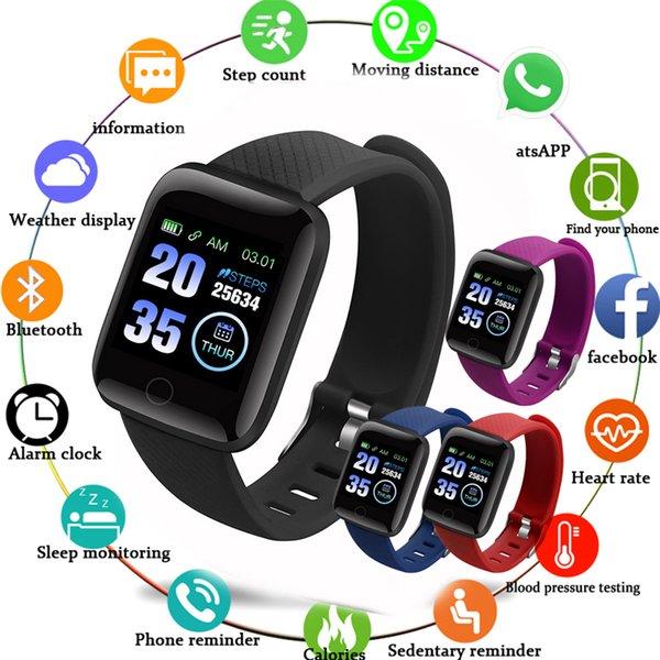 D13 Akıllı İzle Erkekler Kadınlar Kan Basıncı Çalar Saat Nabız IOS Android Smartwatch Spor Izci Kol 116 artı