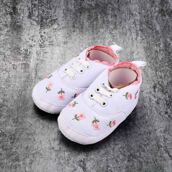 Baby Girl Shoes Spring White Lace Floral Embroidered Soft Soled Infant Sports Shoes Walking Female Toddler Kids