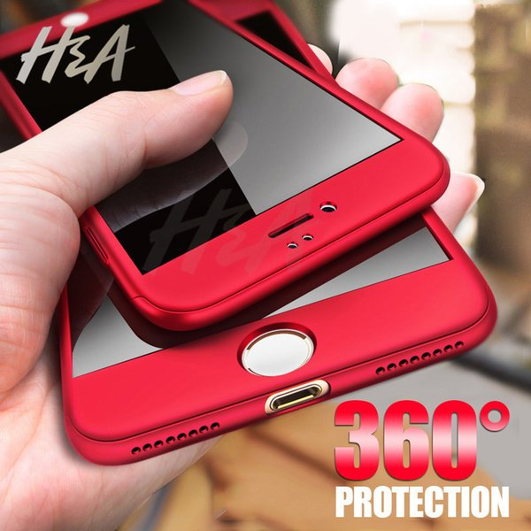 H&A 360 Full Cover Phone Case For iPhone X 8 6 6s 7 Plus 5 5s SE PC Protective Cover For iPhone 7 8 Plus Case Cover With Glass