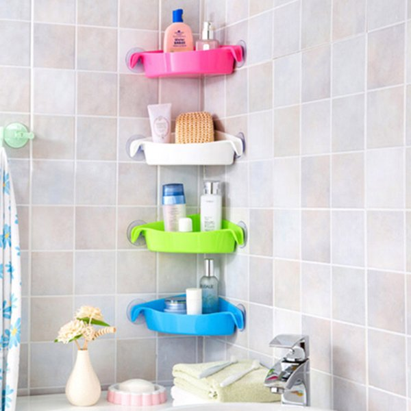 Suction Cups Bathroom Kitchen Corner Storage Rack Organizer Shower Shelf
