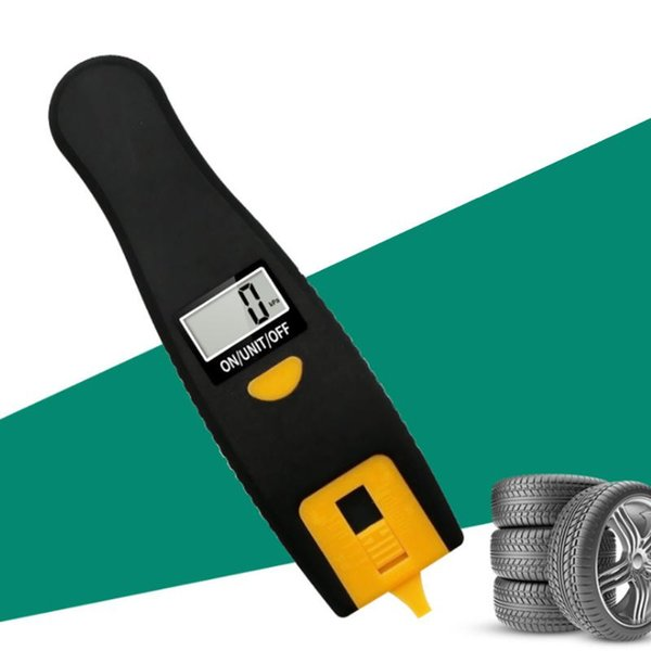 top popular 2 in 1 Digital Car Tyre Thread Meter Air Pressure Gauge Meter 100PSI LCD Display Manometer Barometers Tester For Car Truck New 2021