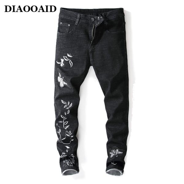 2018 New fashion designer uomo slim fit jeans mens matita denim pantaloni neri ricamo fiori pantaloni stretch street