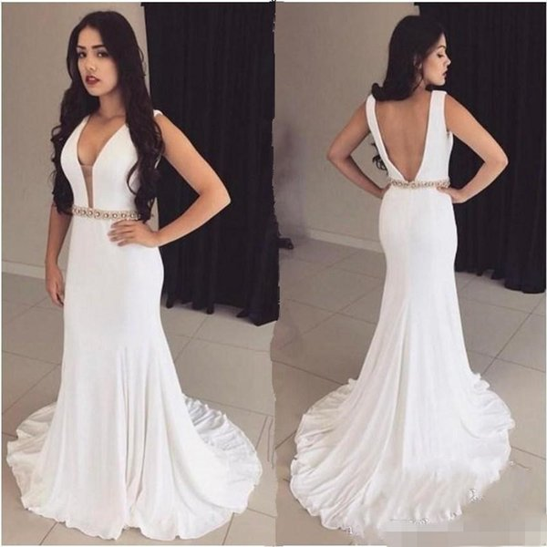 84e27e97e9df Modest Long White Mermaid Prom Dresses Chiffon Sweep Train Beaded Waist  Crystal Plunging Deep V Neck 2019 Custom Made Evening Formal Wear Maxi Prom  ...