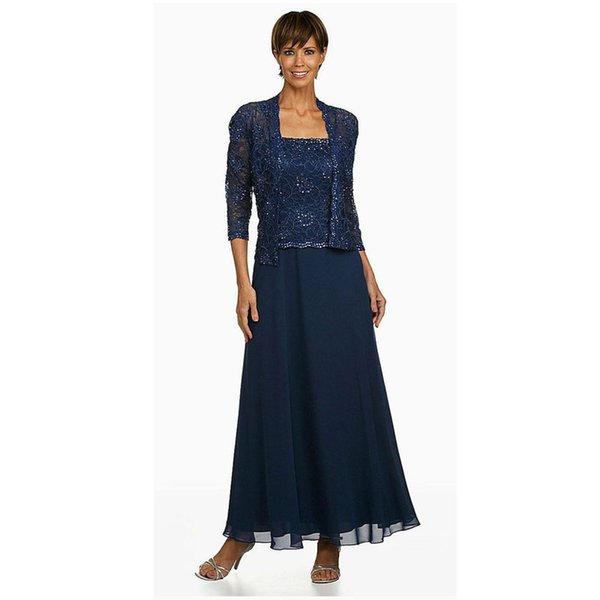 Navy Blue Beaded Mother of the Bride Dresses With Long Sleeves Jacket Square Neck Wedding Guest Dress Ankle Length Chiffon Formal Gowns