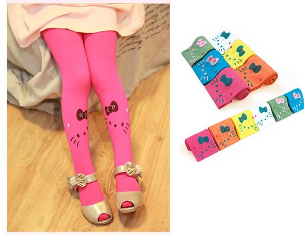 Gato de dibujos animados Patrón Brillante Color Caramelo Terciopelo Muchacha de los niños Leggings Medias Bebé Niño Niña Calcetines 3-8 años