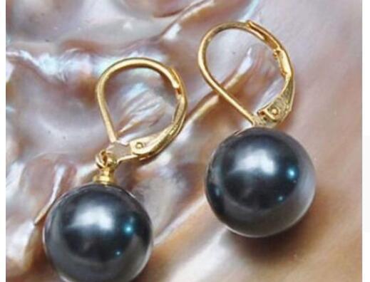 Un paio 10-11mm naturale del mare del sud genuino nero rotondo perla orecchino14k 521