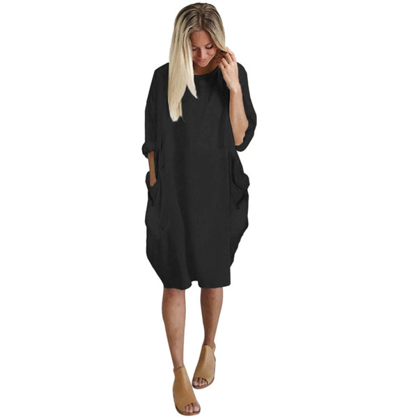 Oversized Mini Dresses Women Solid Color Pockets Baggy Dress Plus Size O  Neck Long Sleeve Vestidos Casual Outwear Robe Dresses Lace Summer Dress ...
