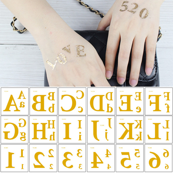 Small Flash Metal Gold Temporary Tattoo Sticker Letter Figure DIY Design Love 520 1314 Waterproof Body Makeup Tattoo for Woman Kids Arm Face
