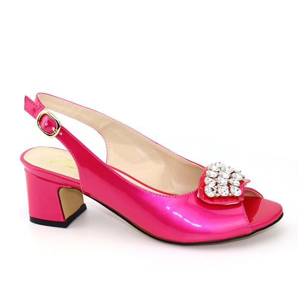 2019 New Women Slipper Elegant Italian Women Sandals Shoes for Parties African Wedding High Heels Rose Red Sandals Pumps Shoes