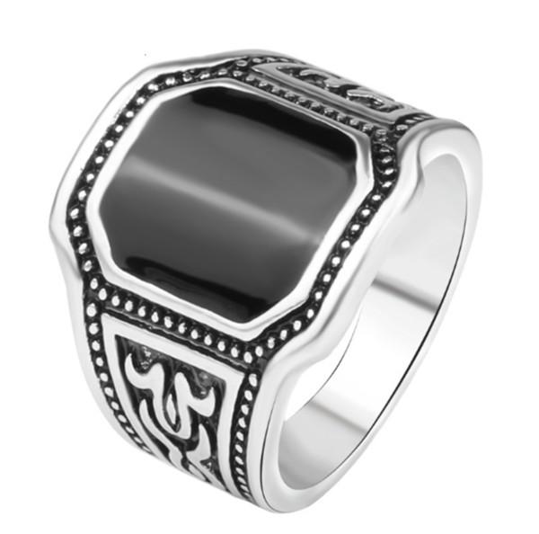 Anelli in smalto color argento vintage modello nero grande per donne Tribal Stone Hollow Flower Knuckle Midi Ring Boho Jewelry