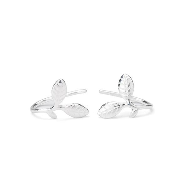 S925 Silver Jewelry Leaf Earrings Feminine Temperament Korean Personality Chao Man Simple DelicateLeaf Ear Hook Simple Ear Nail Lovely