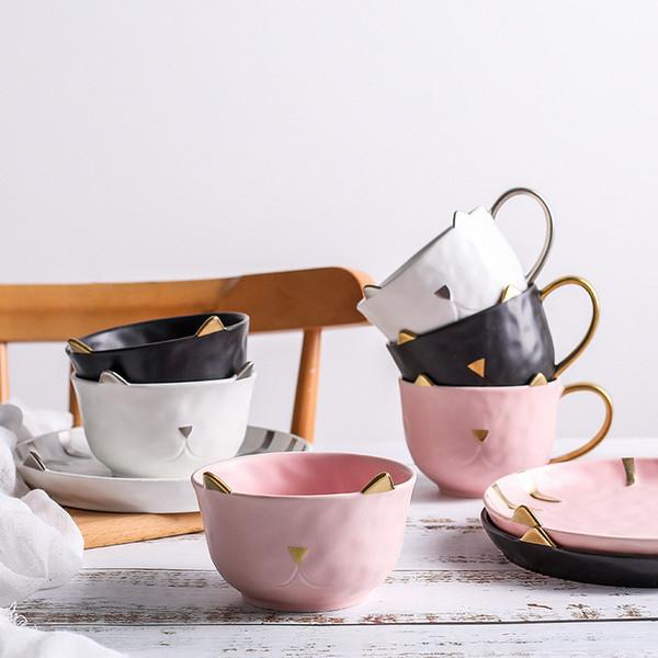 piatto in ceramica piatto colazione insalatiera frutta snack piatto tazza in ceramica ciotola gattino caffè stoviglie dessert