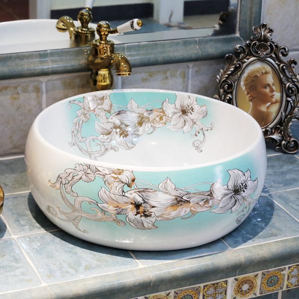 New design Handmade Europe Vintage Style Lavobo Ceramic Bathroom Countertop Bathroom Sink hand washing sink