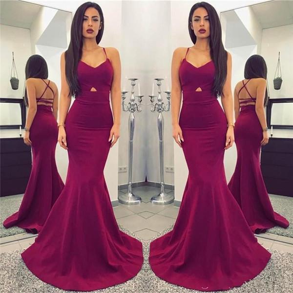 New Designer Simple Plum Long Mermaid 2019 Prom Dresses Sexy Spaghetti Straps Backless Floor Length Cheap Evening Gowns vestidos de fiesta
