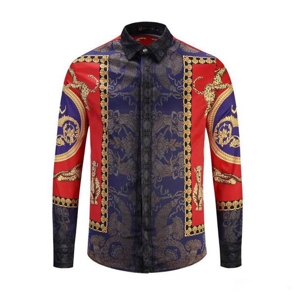 Toptan Satış - Toptan-Ünlü Marka tasarım kıyafetler erkek Barok galaxy altın ejderha çiçek baskı uzun kollu 3d gömlek baskı erkek Medusa gömlek