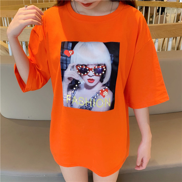 Mode T Shirts Frauen Streetwear Kleidung Sommer Orange Schwarz Harajuku Perle Beiläufige Lose Oversize T-shirt Femme 2019 Tops