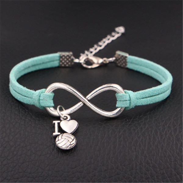 2019 Fashion Green Color Leather Suede Infinity Love I Heart Volleyball Cuff Charm Bracelet & Bangles For Men Women Jewelry Accessories Gift