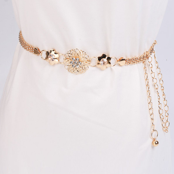 KLV Belt Women's Lady Fashion Metal Chain Gold Color Belt Body Chain Elegant unique Fashion high quality 20190304