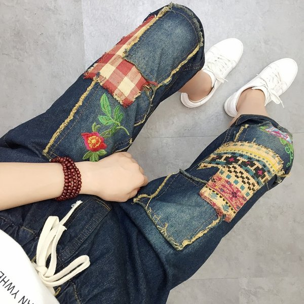 65fc82c4c Estilo Vintage Retro Étnico Estilo Boho Bordado Bordado Patchwork Jeans  Azul Denim Solto Calf Comprimento Calças