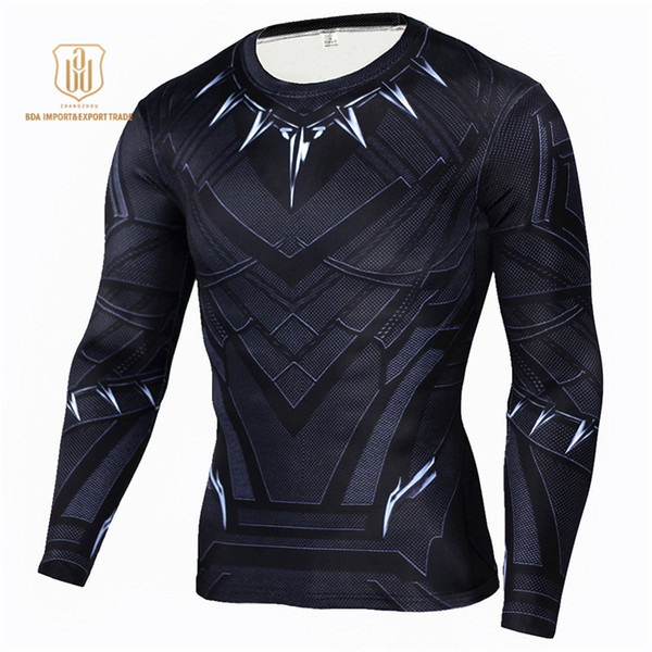 Outdoor Sportswear High Elastic Tights Slim Marvel's The Avengers Batman Long Sleeve Quick Dry Clothes Men Sports Long Sleeved T-shirts