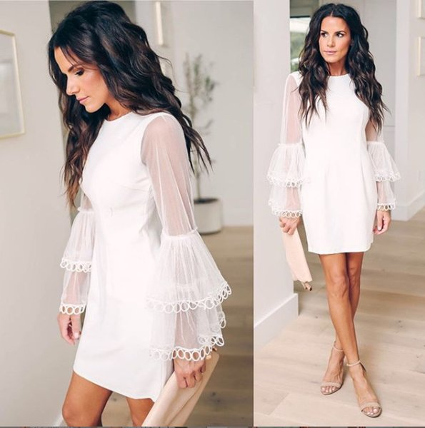 Women's New Design Lace Dress Autumn Summer Long Sleeve Wedding Party Clothes Lady Knee Length for Clubwear Vestidos