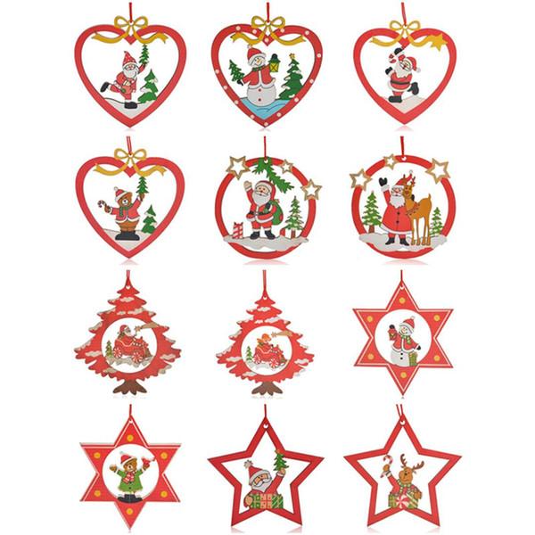 12Pcs/ Set Christmas Tree Hanging Decoration Wooden Santa Claus Star Heart Shape Drop Ornaments Christmas Decoration For Home