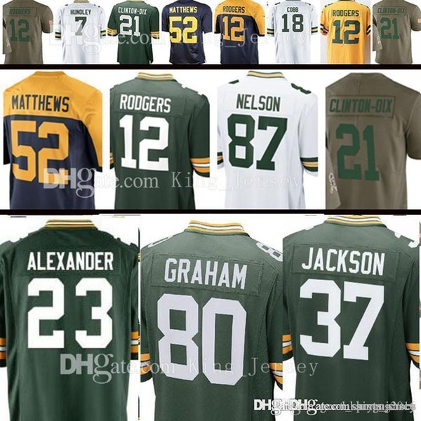 competitive price b3c7e 9370b 2019 Cheap 20 Kevin King 80 Jimmy Graham 12 Aaron Rodgers Jersey 52 Clay  Matthews Jordy Nelson 23 Jaire Alexander 37 Josh Jackson 18 Randall Cobb  From ...