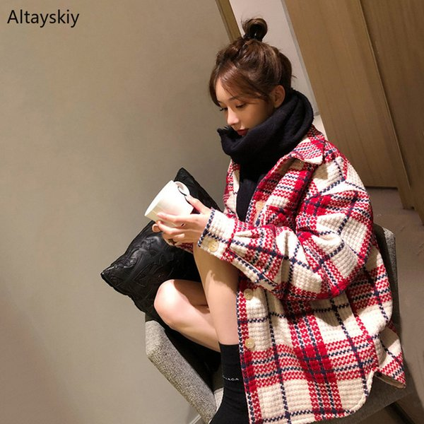 Blends Women Plaid Retro Elegant Girl All-match Patchwork Winter Warm Womens Korean Button Outwear Blend Leisure Simple Lovely